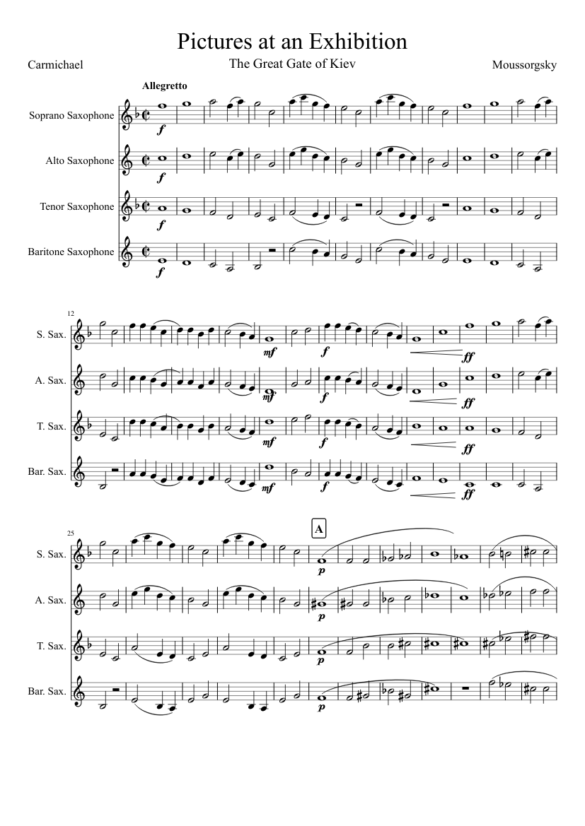 pictures at an exhibition sax quartet (great gate of kiev) sheet music for  saxophone (alto), saxophone (tenor), saxophone (baritone), saxophone  (soprano) (saxophone ensemble) | musescore.com  musescore.com