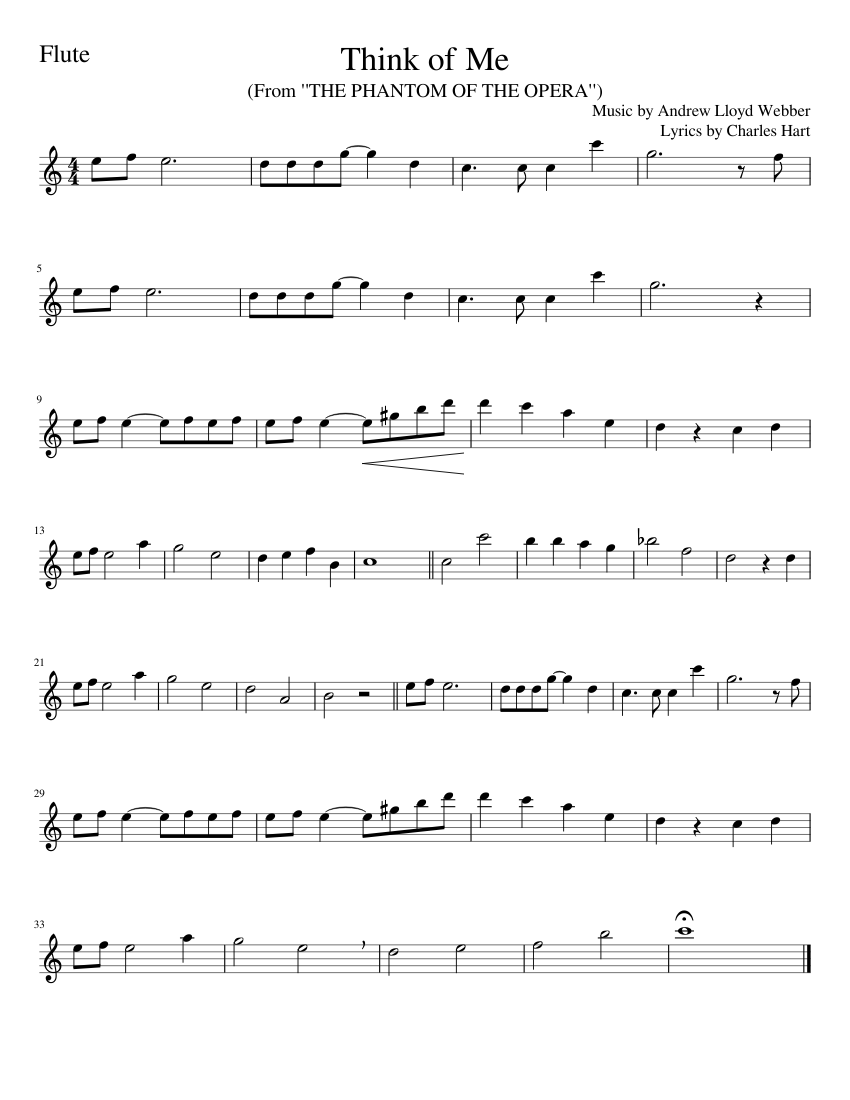 FLUTE Think of Me from The Phantom of the Opera Sheet music for ...