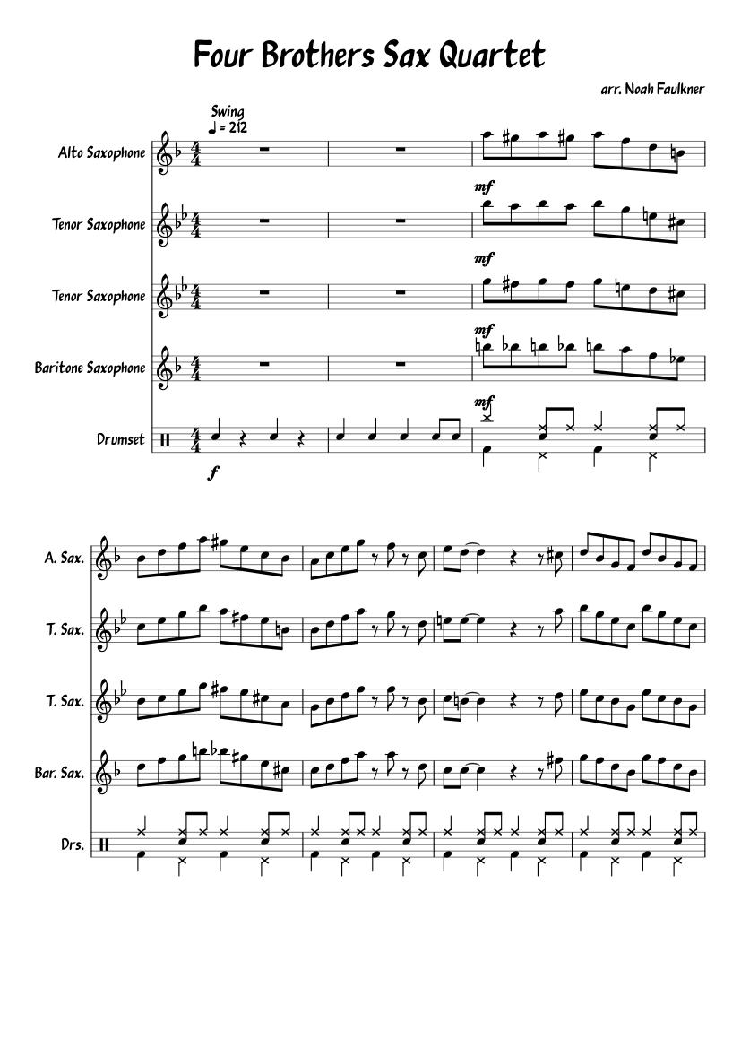 Four brothers sax quartet sheet music for alto saxophone, tenor.