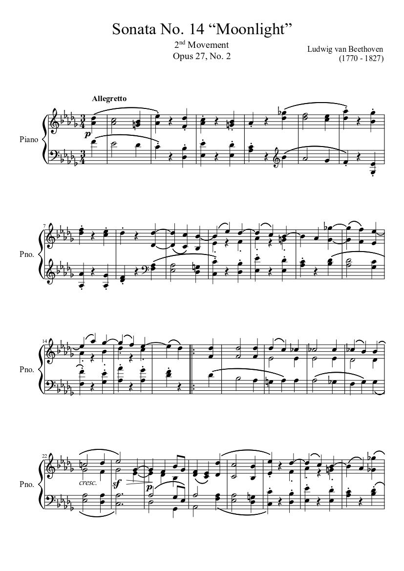"Sonata No. 14 ""Moonlight"" 2nd Movement"