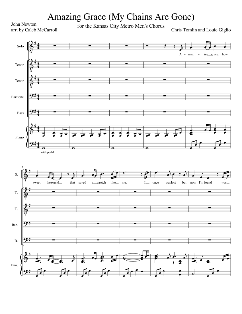 Amazing Grace My Chains Are Gone Sheet Music For Piano Voice