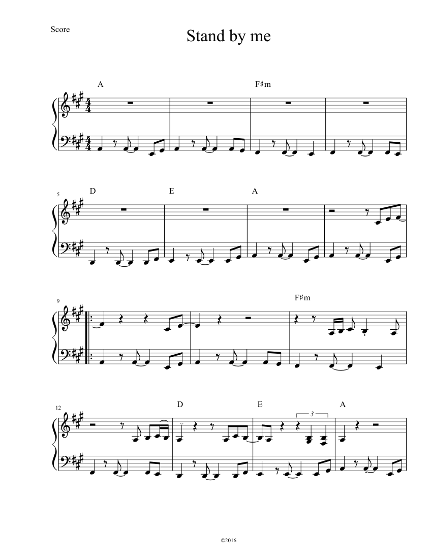 Stand by me by ben e. King piano sheet music   intermediate level.