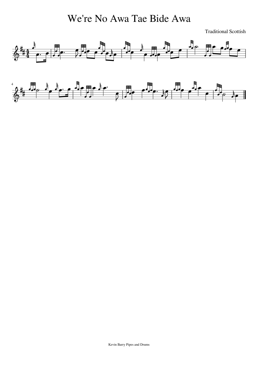 we're no awa tae bide awa sheet music for pipes (solo) | download and print  in pdf or midi free sheet music (gothic rock ) | musescore.com  musescore.com