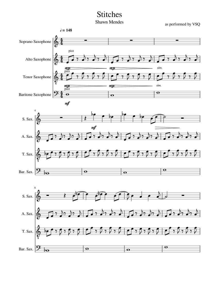 stitches shawn mendes sheet music for saxophone (alto), saxophone (tenor),  saxophone (baritone), saxophone (soprano) (saxophone ensemble) |  musescore.com  musescore.com