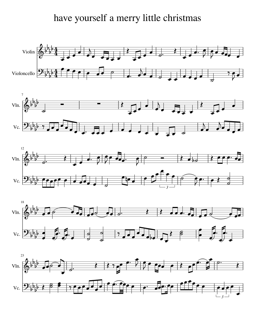 Have Yourself A Merry Little Christmas Violin Sheet Music.Have Yourself A Merry Little Christmas Sheet Music For