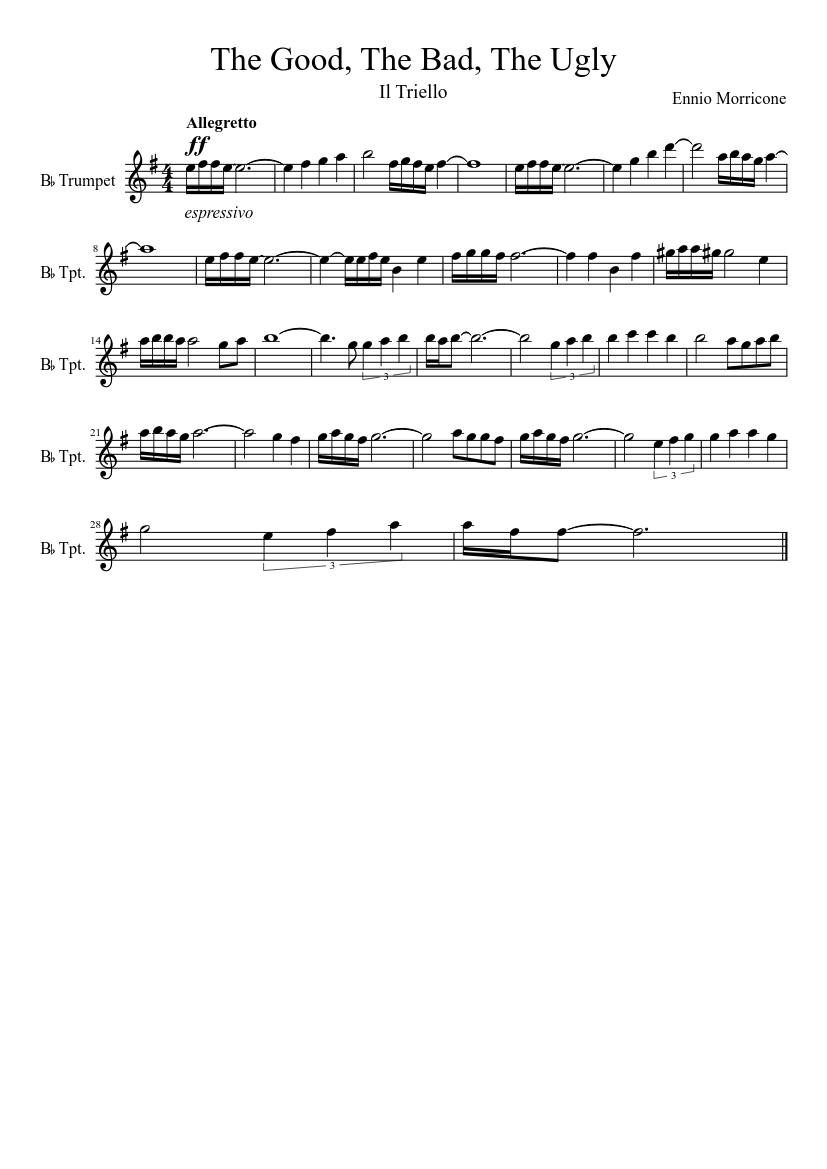 Westerns the good the bad and the ugly sax quartet sheet music.