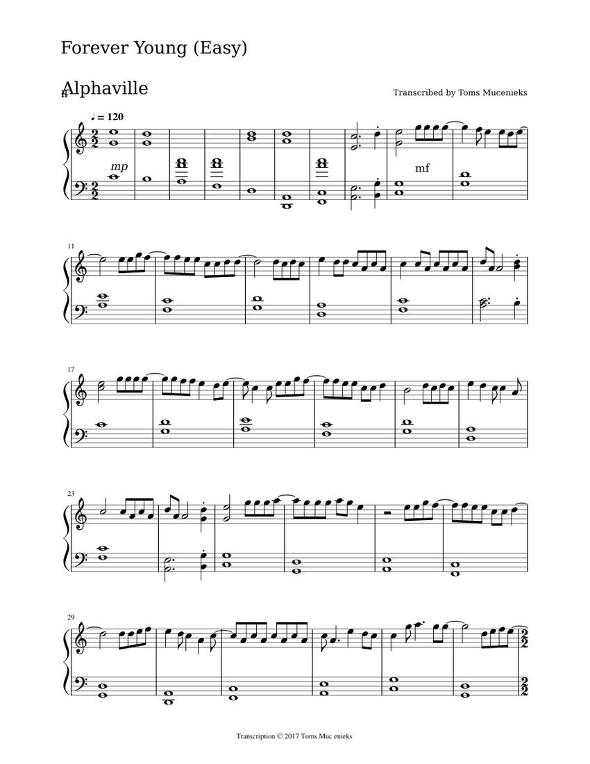 Forever young by Alphaville Sheet music (Solo) | Musescore.com
