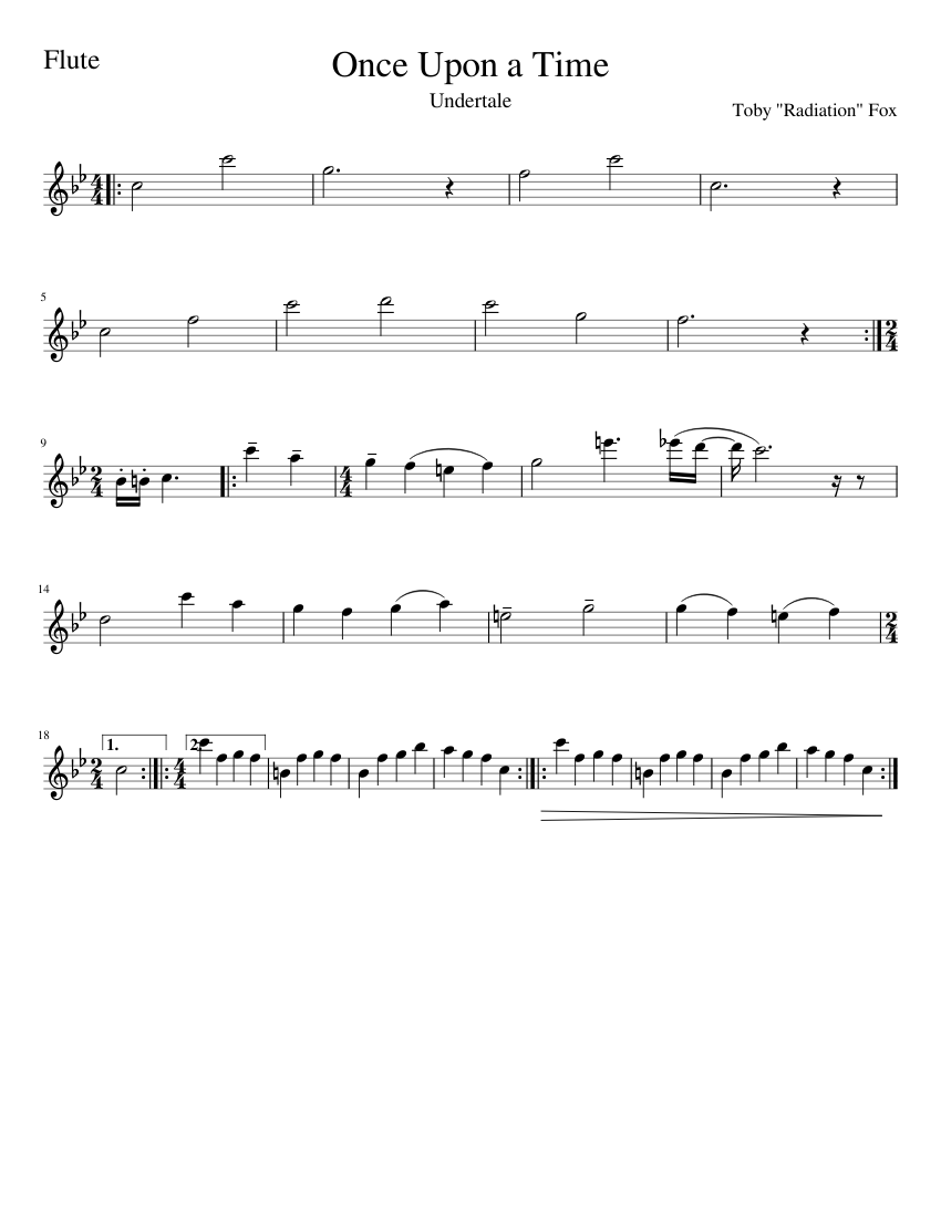 Once Upon A Time Undertale For Flute Sheet Music For Flute