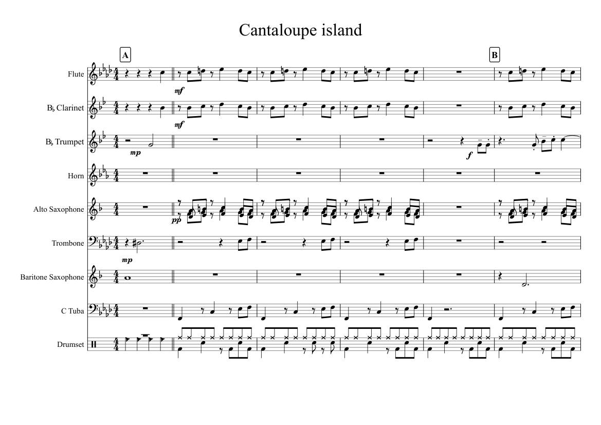 Cantaloupe Island Sheet Music For Trombone Flute Tuba Mixed Trio Musescore Com Learn & play tab for rhythm guitar, bass, percussions and other with free online tab player, speed control and loop. cantaloupe island sheet music for