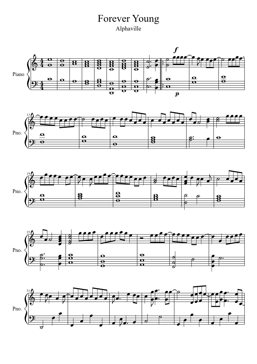 Forever Young Sheet music for Piano Solo   Musescore.com