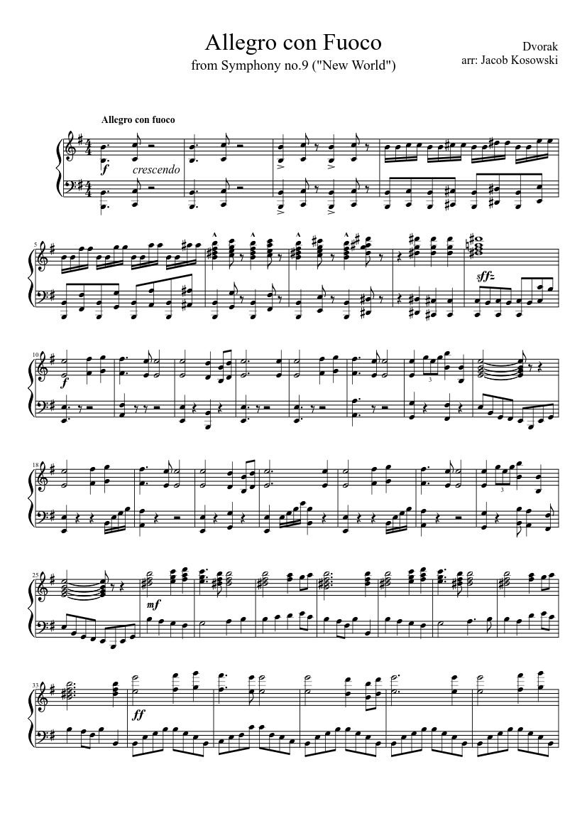 Symphony No.9, Op.95 by Antonín Dvořák sheet music arranged by Azzonk for Solo – 1 of 4 pages