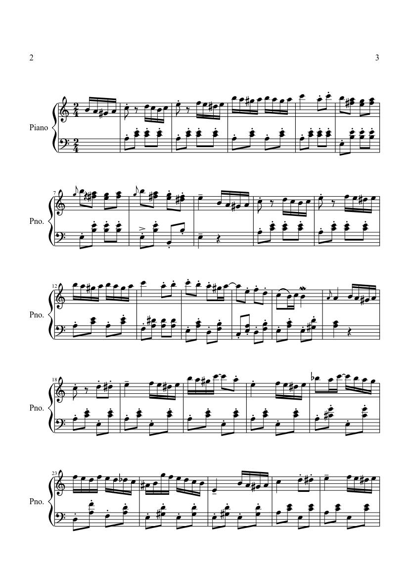 Piano Sonata No. 11, K. 331 (Turkish March) by Wolfgang Amadeus Mozart sheet music arranged by Nurukai for Solo – 1 of 5 pages