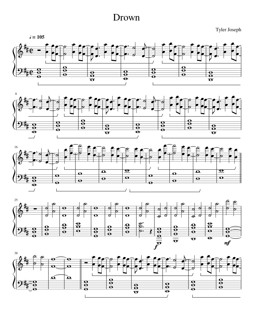 Tyler Joseph Drown Sheet Music For Piano Download Free In Pdf Or Midi