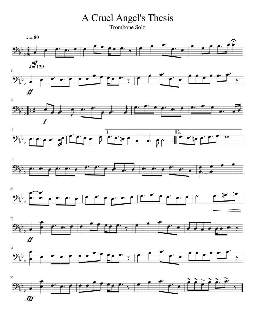 a cruel angels thesis bass tabs