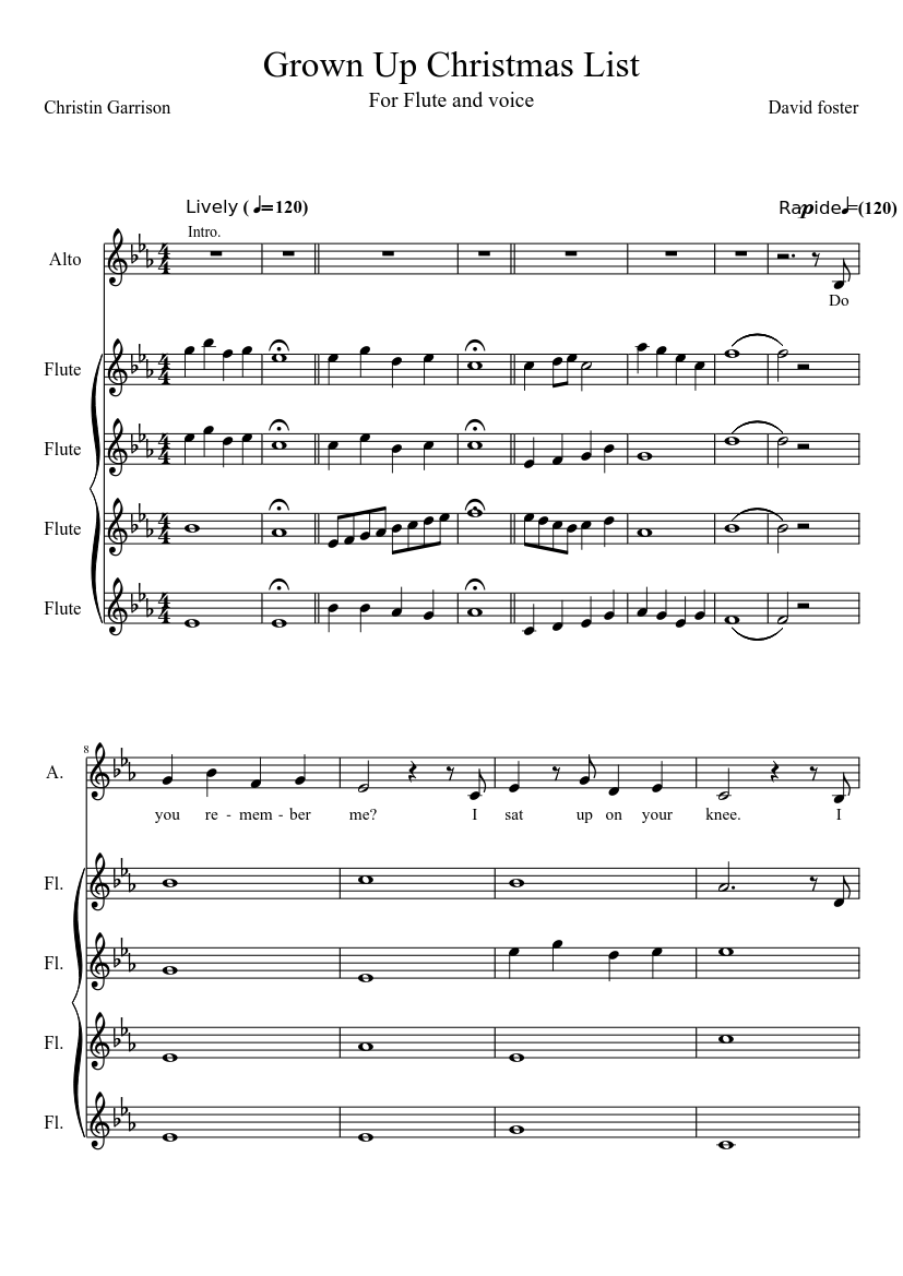 Grown up Christmas List sheet music download free in PDF or MIDI