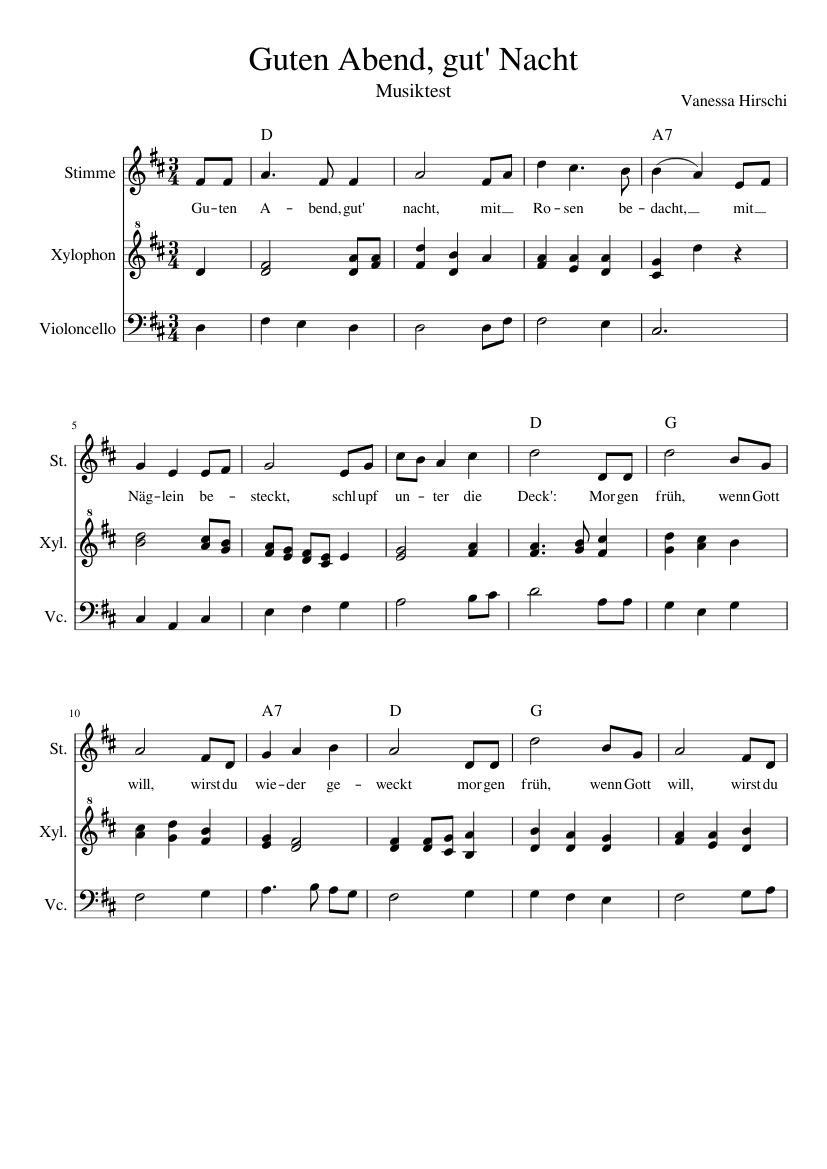 Guten Abend, gut Nacht - Score
