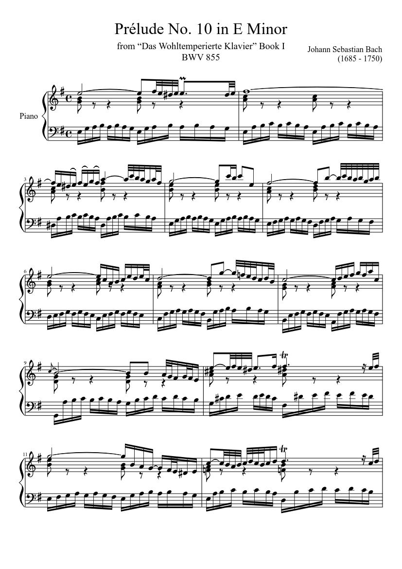 prélude no. 10 bwv 855 in e minor sheet music for piano (solo) |  musescore.com  musescore.com