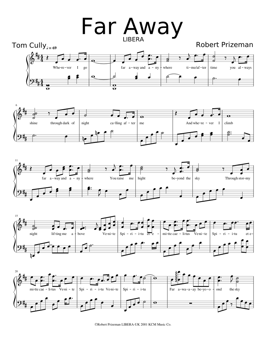 Far Away  by Robert Prizeman sheet music arranged by cvweb for Solo – 1 of 2 pages