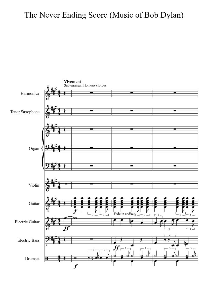 The Never Ending Score (Music of Bob Dylan) sheet music for