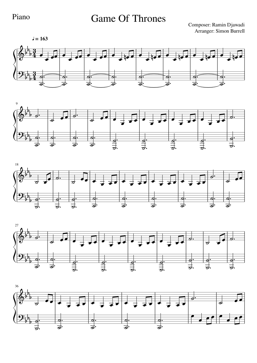 Game Of Thrones Titelmusik Klaviernoten game of thrones theme music - piano cover & tutorial sheet