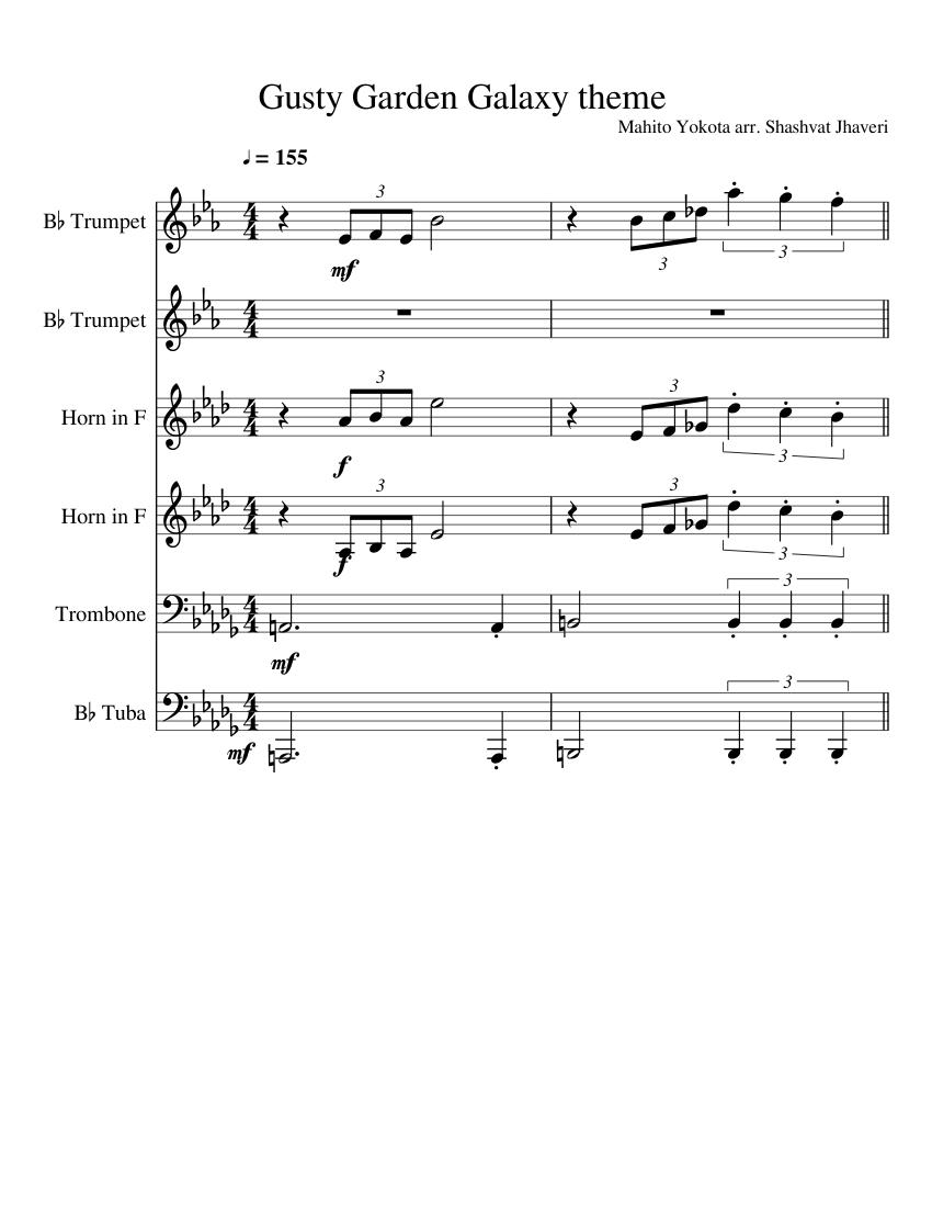 Gusty garden galaxy (from super mario galaxy, for piano) sheet.
