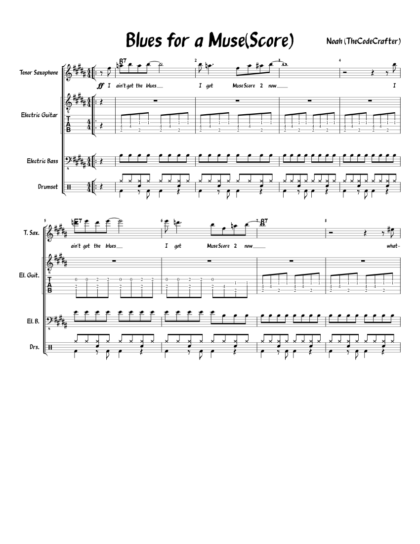 Blues for a MuseScore 2 sheet music download free in PDF or MIDI