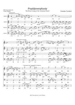 Բարեխօսութեամբ - Parehosutyamp sheet music arranged by Avedis Özdemir for SATB