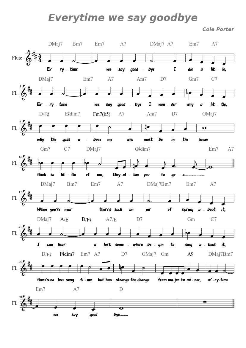 Time To Say Goodbye Sheet Music Pdf