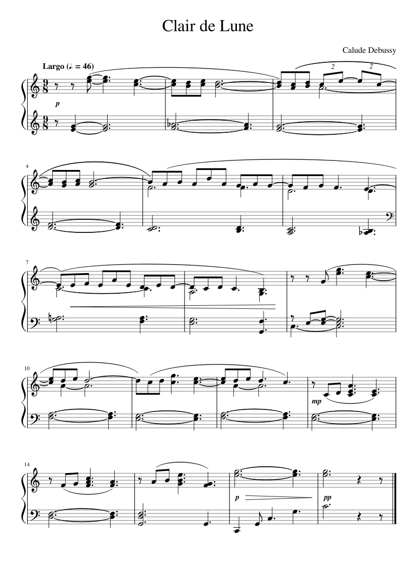 Clair de lune by Claude Debussy sheet music arranged by checker.by for Solo – 1 of 1 pages