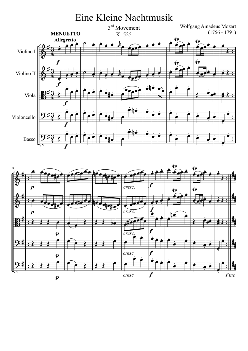 Eine kleine nachtmusik, 2nd movement sheet music for violin, viola.