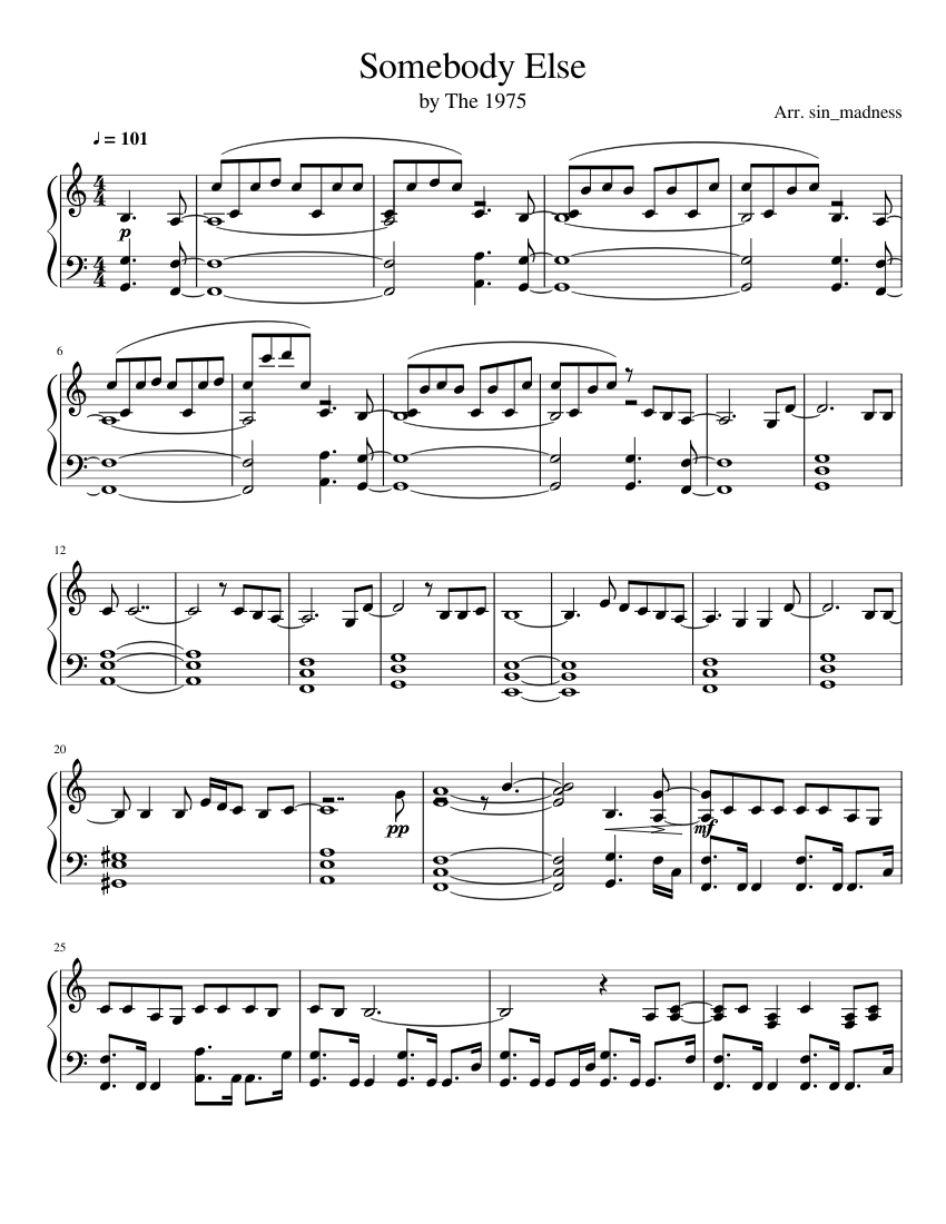 Somebody Else   The 15 Sheet music for Piano Solo   Musescore.com