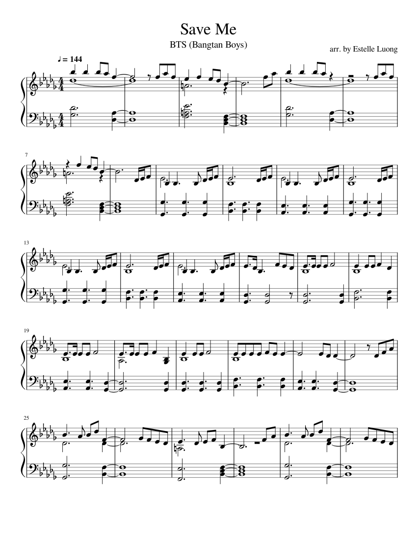 Save Me Bts Piano Arrangement Sheet Music For Piano Download