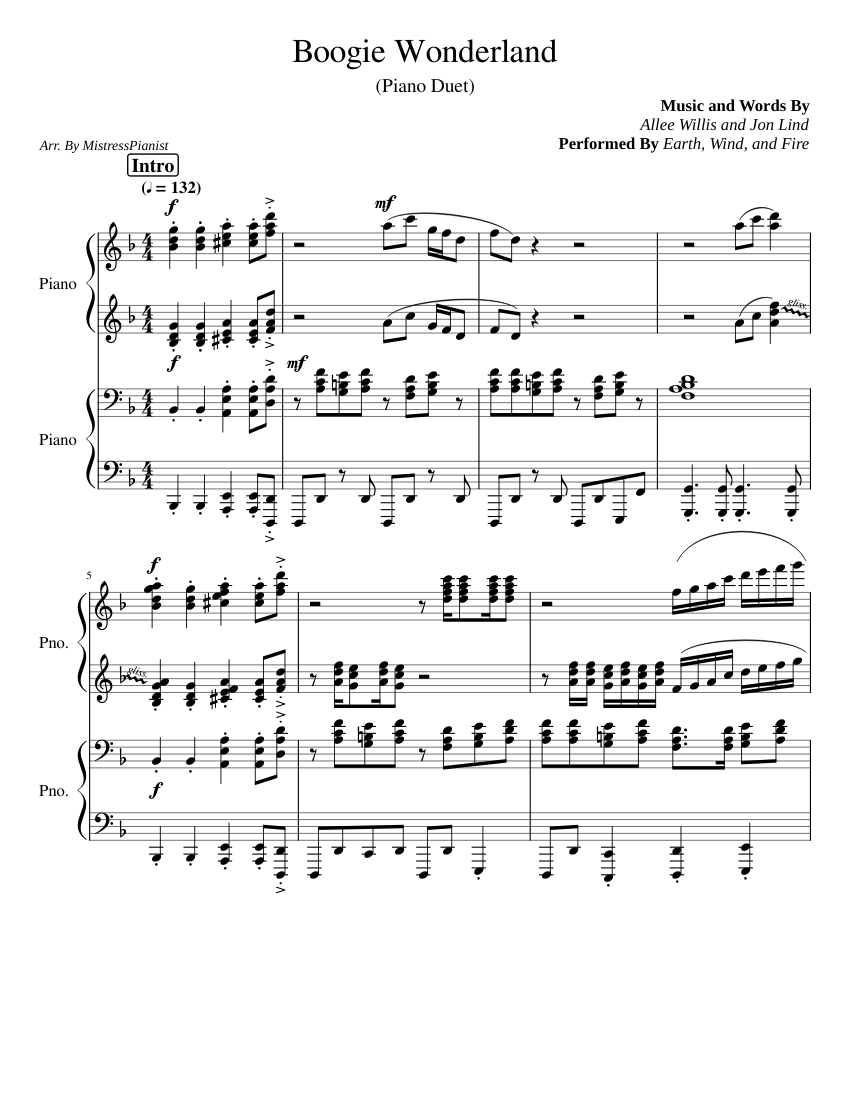 Boogie Wonderland Sheet Music | Earth, Wind & Fire | Piano ...
