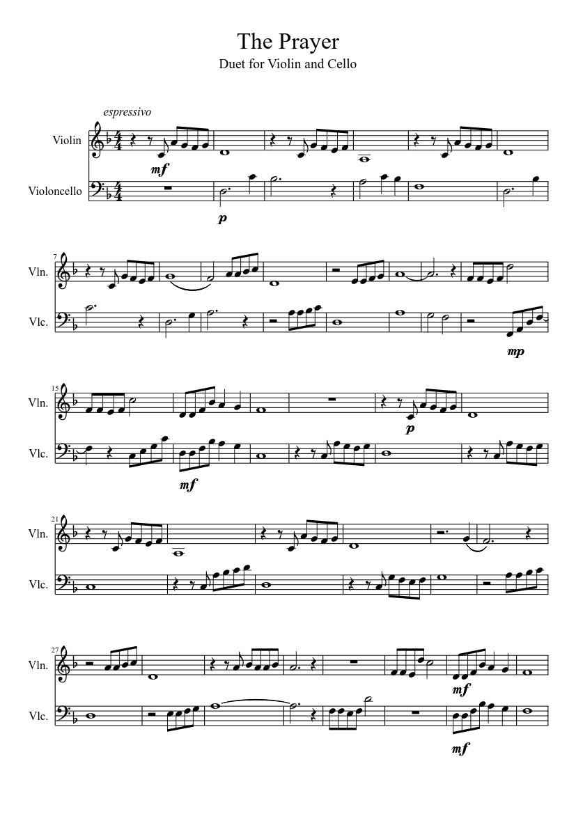The Prayer Violin and Cello Duet sheet music for Violin, Cello download free in PDF or MIDI
