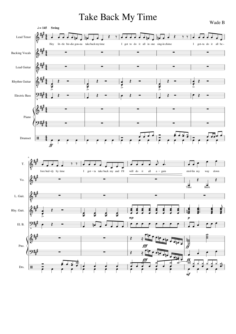 Back in time sheet music download free in pdf or midi.