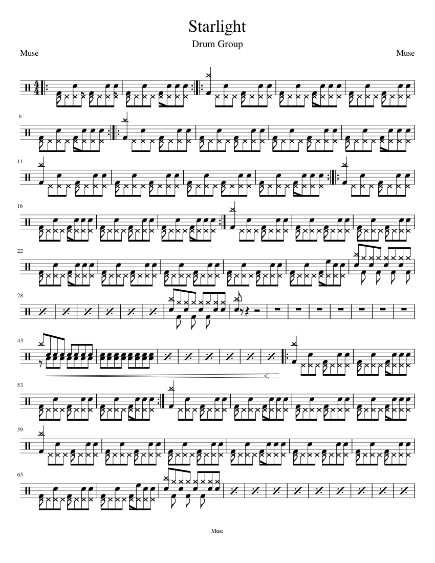 Starlight Muse Drum Group Sheet Music For Drum Group Solo Musescore Com