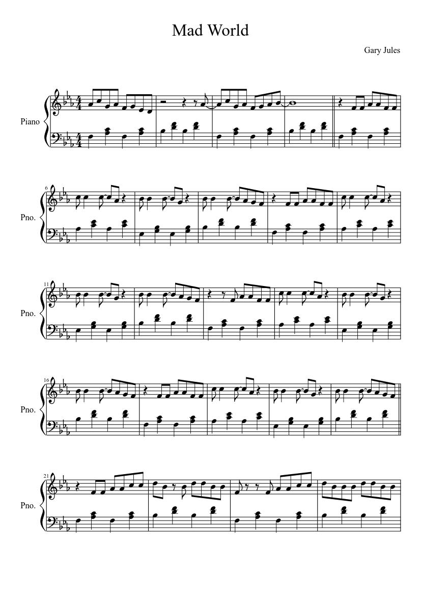 mad world klaviernoten