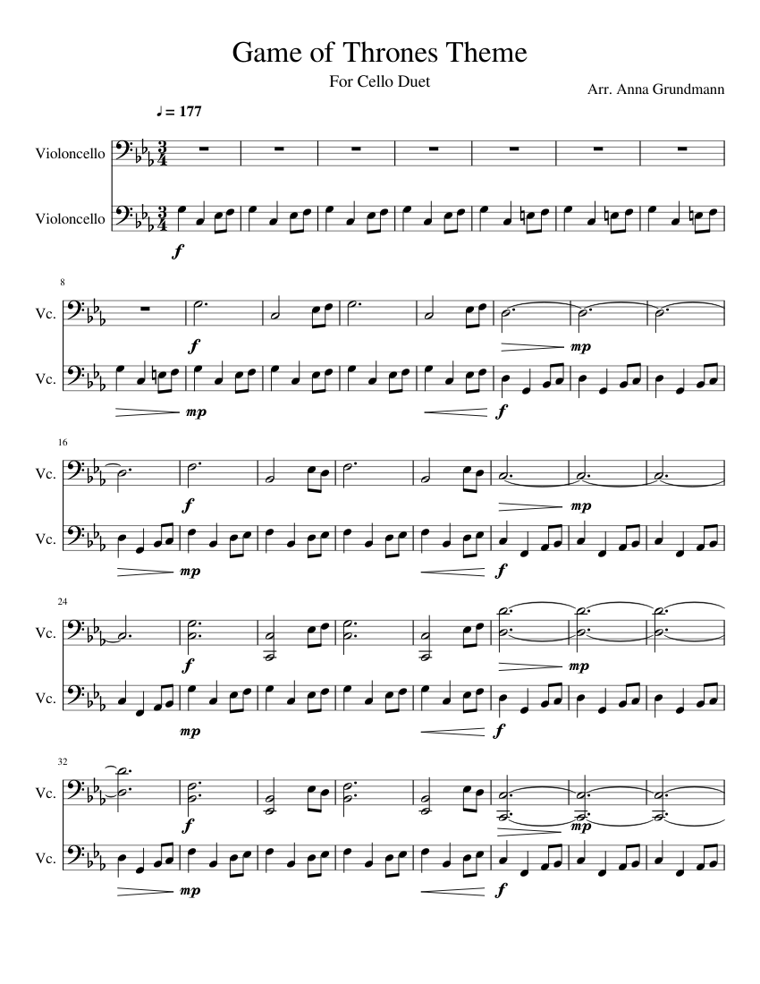 game of thrones cello sheet music free