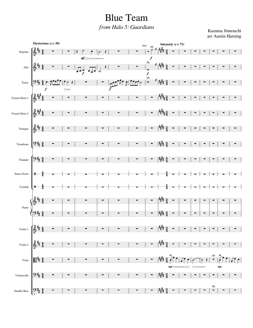Blue Team, from Halo 5: Guardians v2.0 sheet music for