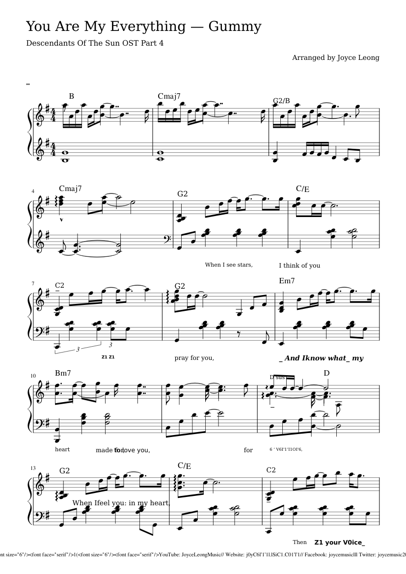 You Are My Everything Sheet Music For Piano Download Free In Pdf Or Midi