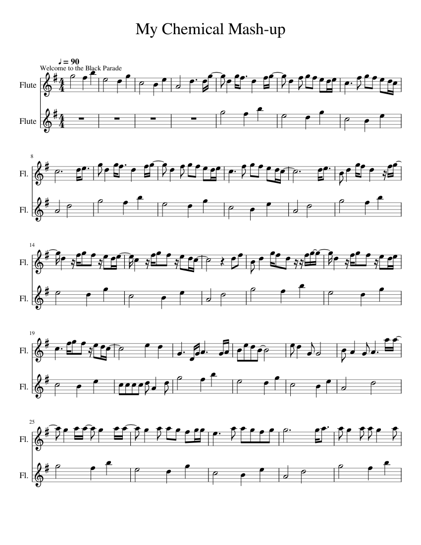 My chemical romance songs arranged for a concert band sheet music.