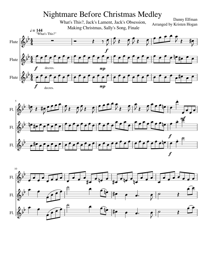 The Nightmare Before Christmas Medley for Flute Trio sheet music for ...
