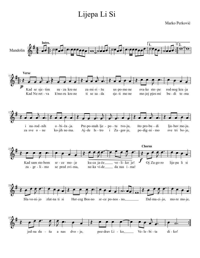 Lijepa Li Si Sheet Music Download Free In Pdf Or Midi