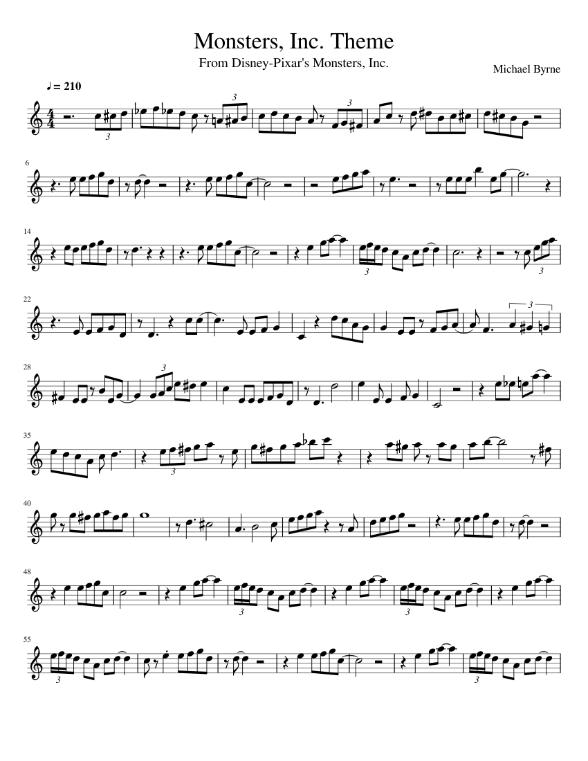 Monsters Inc Theme Alto Sax Eb Sheet Music For Saxophone Alto Solo Musescore Com