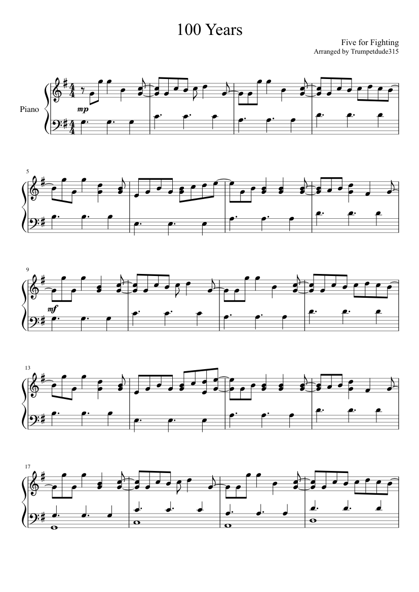 100 Years Five For Fighting Piano Solo Sheet Music For Piano Download Free In Pdf Or Midi Musescore Com
