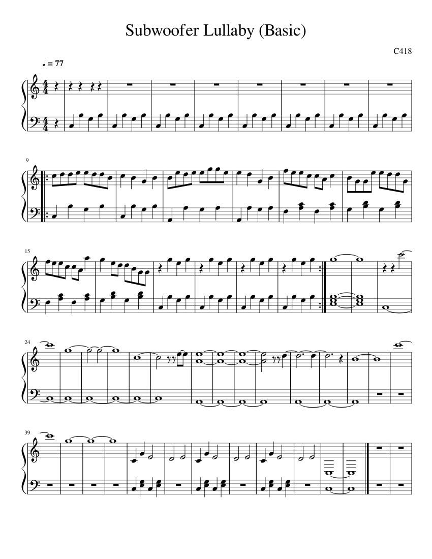 minecraft c418 subwoofer lullaby basic sheet music for piano