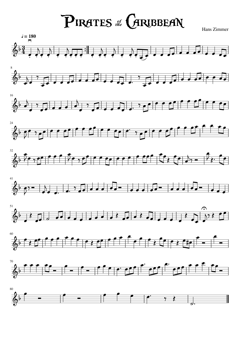 Pirates of the caribbean medley sheet music for piano download.