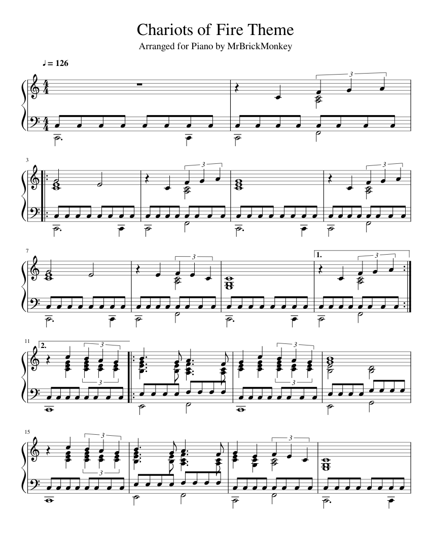 Download chariots of fire piano 4 hands duet sheet music by.