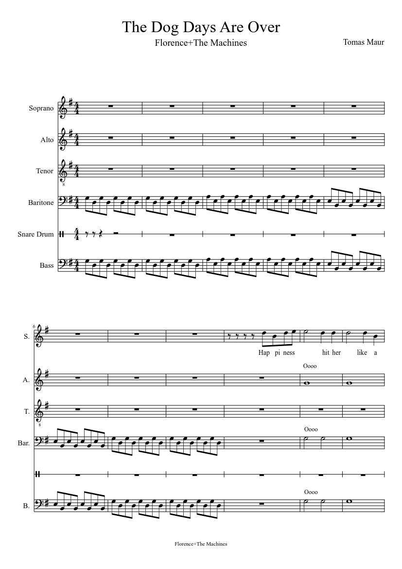 The Dog Days Are Over Sheet Music For Voice Percussion Download