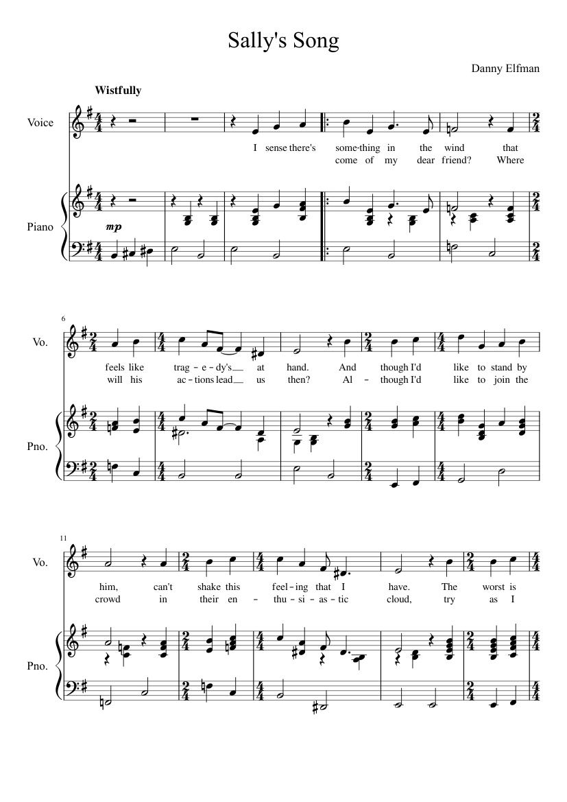 Sally's Song - The Nightmare Before Christmas sheet music for Piano, Voice download free in PDF ...